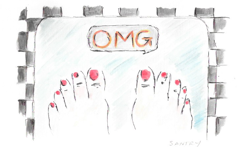 Image with weighing scales showing 'OMG'